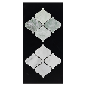 "CC38 - Ming Green 3"" Lantern Mosaic Polished and Pearl White 3"" Lantern Mosaic Polished Card - Elon Tile"