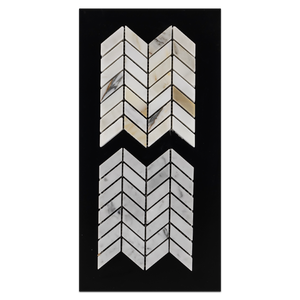 CC45 - Calacatta Petite Chevron Mosaic Polished and Carrara Petite Chevron Mosaic Polished Card - Elon Tile