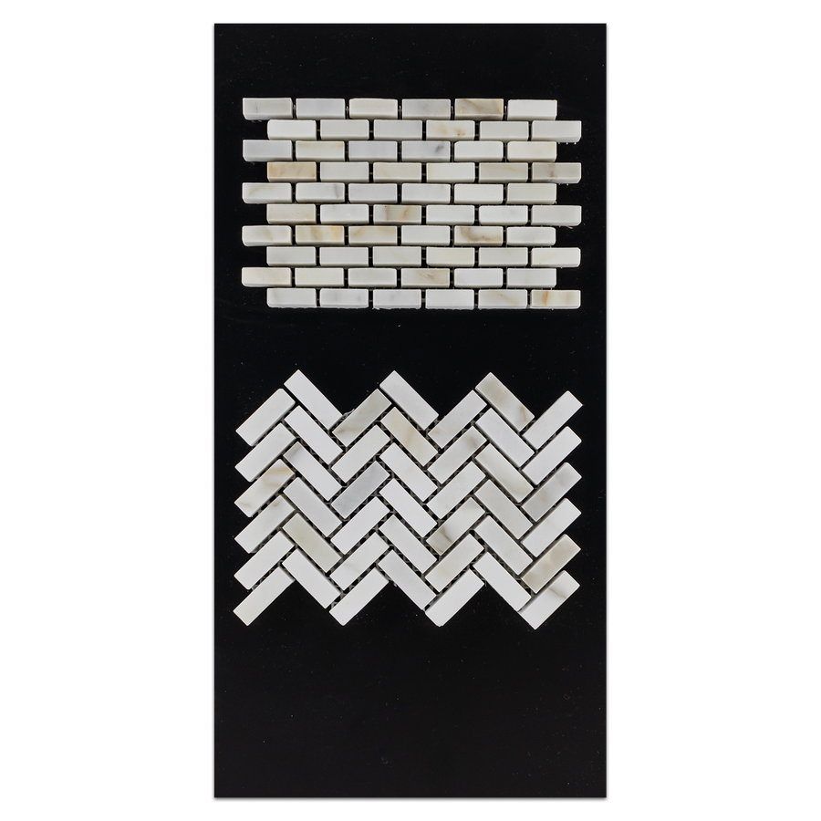 CC54 - Calacatta Micro Herringbone Mosaic Honed and Micro Brick Honed Card - Elon Tile