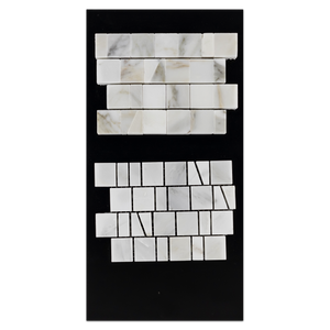 CC56 - Calacatta Gold Random Broken Joint Mosaic Polished and Pearl White Random Broken Joint Mosaic Honed Card - Elon Tile