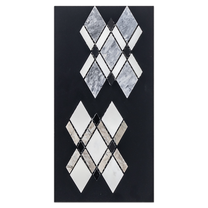 CC58 - Pacific Gray Lattice with White Absolute & Black Mosaic Polished and Temple Grey Lattice Mosaic Tri-Color Mosaic Polished Card