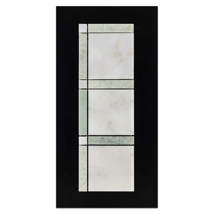 CC59 - Pearl White with Ming Green Grande Square Mosaic Polished Card - Elon Tile