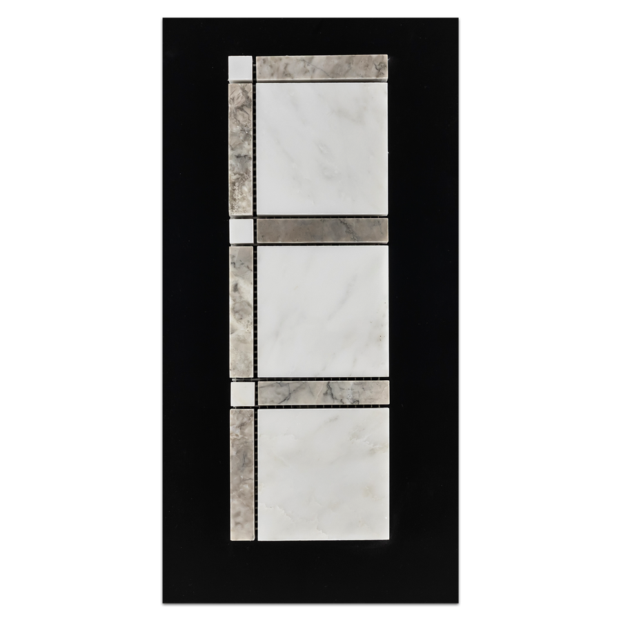 CC60 - Pearl White with Temple Grey Grande Square Mosaic Polished Card - Elon Tile