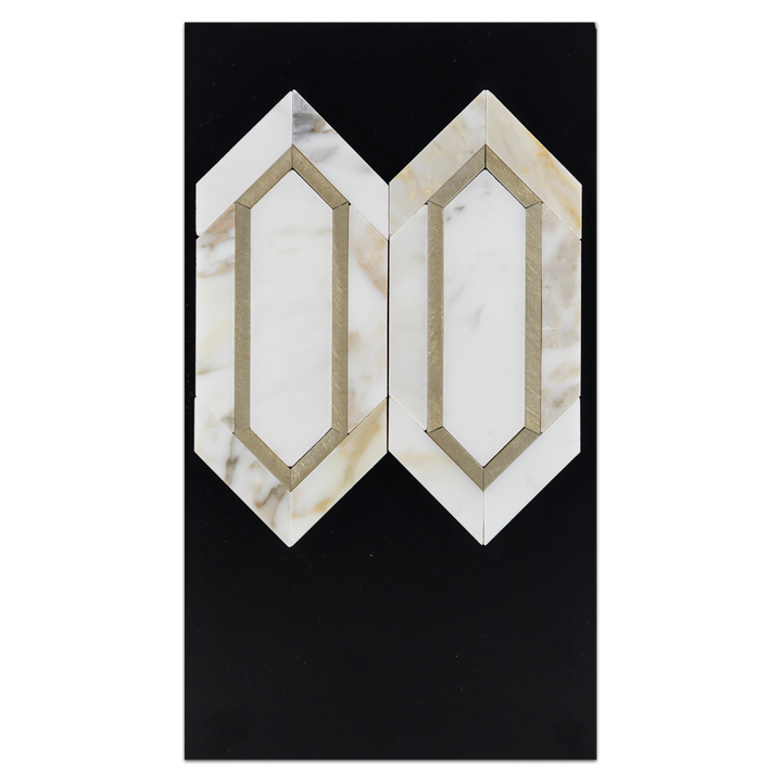 CC67 - Calacatta with Gold Aluminum Mosaic Picket Mosaic Polished Card - Elon Tile