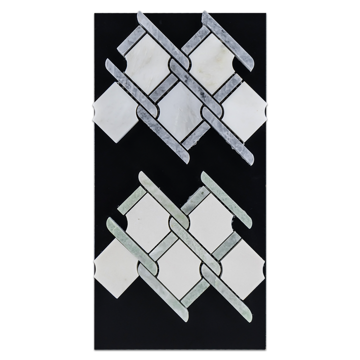 CC78 - Pearl White Argyle with Pacific Gray Bar Mosaic Polished and White Absolute Argyle with Ming Green Bar Mosaic Polished Card - Elon Tile