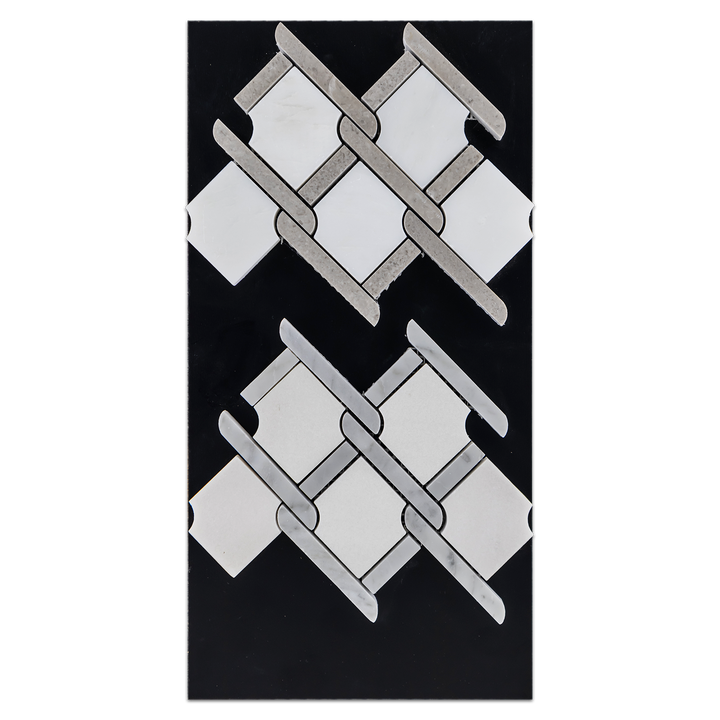 CC79 - Pearl White Argyle with Sand Dollar Bar Mosaic Polished and White Absolute Argyle with Carrara Bar Mosaic Polished Card - Elon Tile