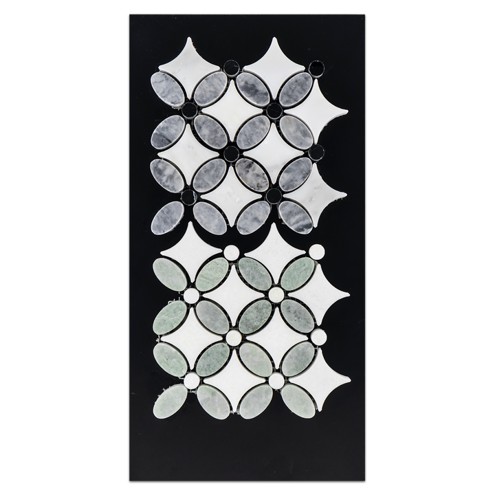 CC82 - Ming Green Fleur Mosaic with White Thassos Dot Mosaic Polished and Pacific Gray with White and Black Fleur Mosaic Polished Card - Elon Tile