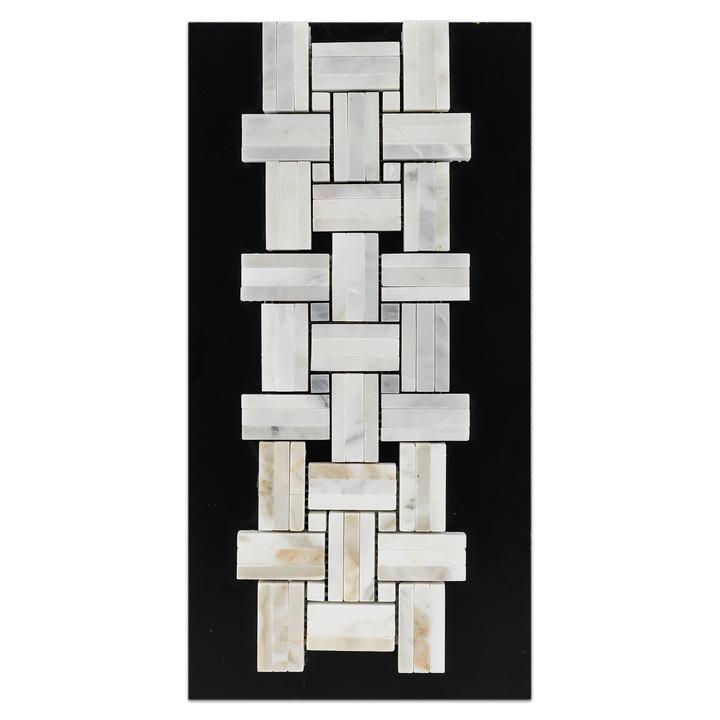 CC89 - Pearl White Tri-Weave with Pearl White Dot Mosaic Honed and Pearl White Tri-Weave with Pacific Gray Dot Mosaic Honed and Calacatta Tri-Weave with Calacatta Dot Mosaic Polished Card - Elon Tile