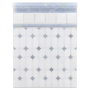 "Concept Board Collection - CB1082 - White Thassos Starlight with Blue Celeste Dot Mosaic Polished with White Thassos 2"" x 2"" Mosaic Polished and Blue Celeste Moldings Polished Board - Elon Tile"