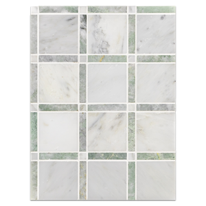 Mosaic Board Collection - CP219 - Pearl White Grande Square with Ming Green Bar and Pearl White Dot Polished Board