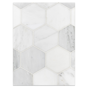 "Mosaic Board Collection - CP261 - Pearl White 5"" Hexagon Polished"