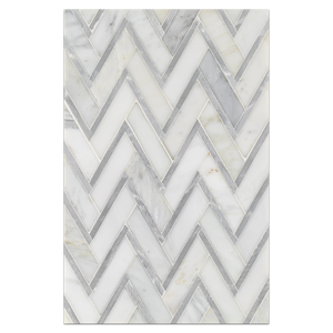 Mosaic Board Collection - CP519 - Pearl White Herringbone with Silver Aluminum Polished