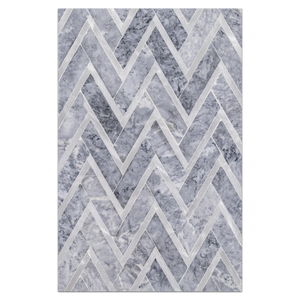 Mosaic Board Collection - CP520 - Pacific Gray Herringbone with Silver Aluminum Polished