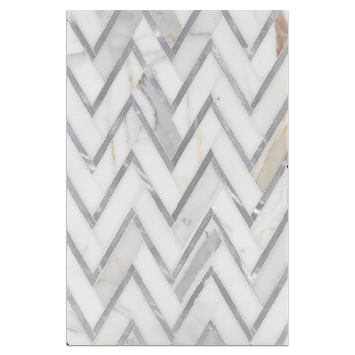 Mosaic Board Collection - CP521 - Calacatta Herringbone with Silver Aluminum Polished - Elon Tile