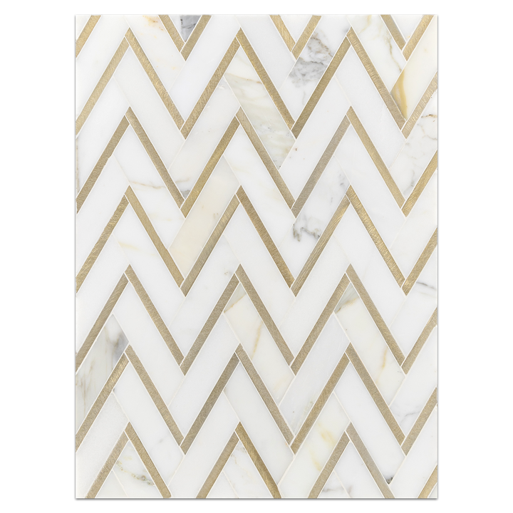 Mosaic Board Collection - CP522 - Calacatta Herringbone with Gold Aluminum Polished