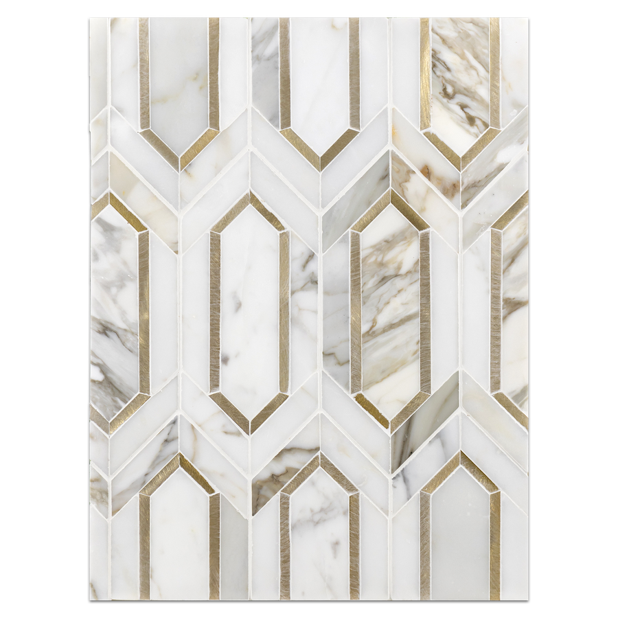Mosaic Board Collection - CP539 - Calacatta Picket with Gold Aluminum Mosaic Polished - Elon Tile