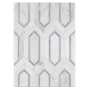 Mosaic Board Collection - CP540 - Pearl White Picket with Silver Aluminum Mosaic Honed Board