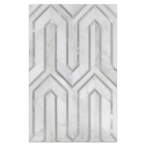 Mosaic Board Collection - CP542 - Pearl White Serpentine with Silver Aluminum Mosaic Polished - Elon Tile