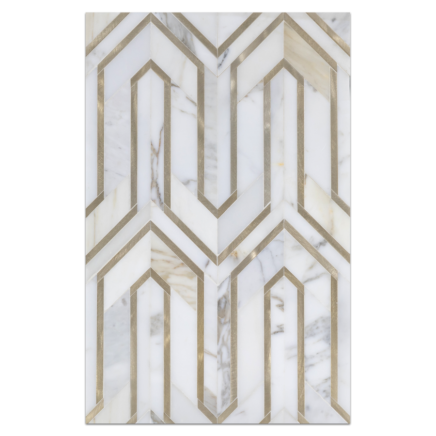 Mosaic Board Collection - CP543 - Calacatta Serpentine with Gold Aluminum Mosaic Polished Board - Elon Tile
