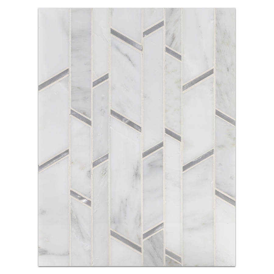 Mosaic Board Collection - CP552 - Pearl White Random Strip with Silver Aluminum Mosaic Polished Board - Elon Tile