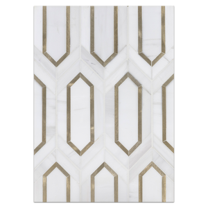 Mosaic Board Collection - CP563 - Dolomite Picket with Gold Aluminum Mosaic Honed Board - Elon Tile