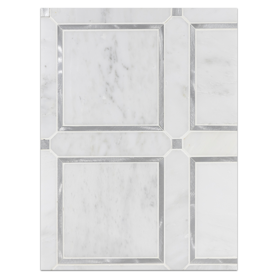 Mosaic Board Collection - CP569 - Pearl White Frame with Silver Aluminum Mosaic Honed - Elon Tile