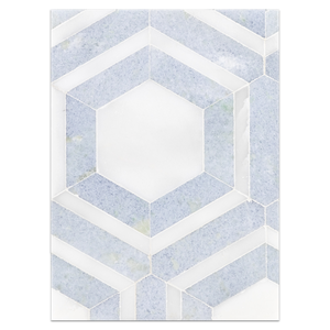 Mosaic Board Collection - CP576 - Absolute White with Blue Celeste Honeycomb Mosaic Honed