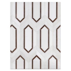 Mosaic Board Collection - CP650 - Dolomite Picket with Copper Rose Aluminum Mosaic Honed Board - Elon Tile