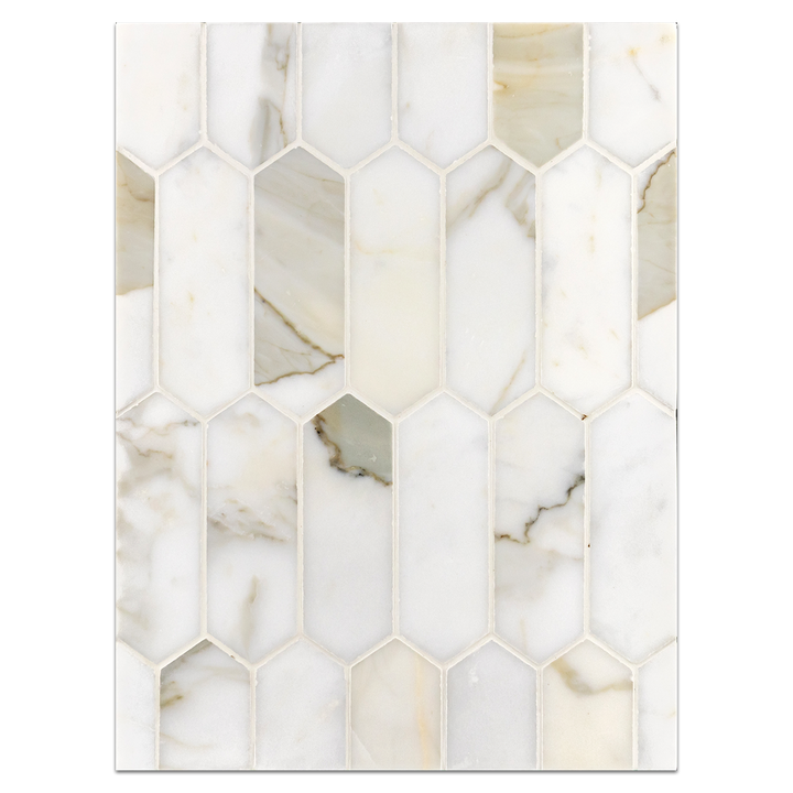 "Mosaic Board Collection - CP653 - Calacatta 2"" x 6"" Picket Mosaic Honed"