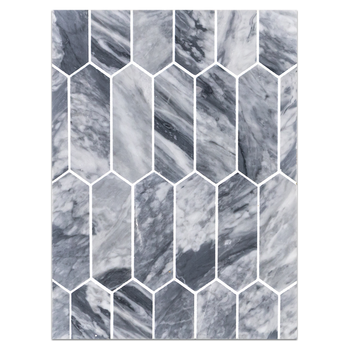 "Mosaic Board Collection - CP654 - Bardiglio Nuvolato 2"" x 6"" Picket Mosaic Honed"