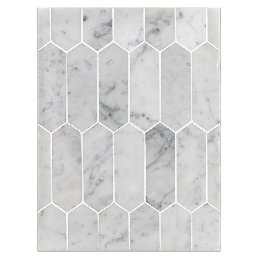 "Mosaic Board Collection - CP656 - Bianco Carrara 2"" x 6"" Picket Mosaic Honed"
