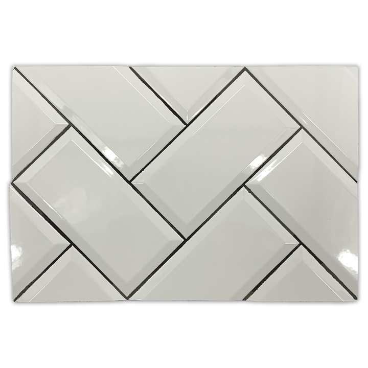 "Metropolitan Board Collection - CSB104 - Metropolitan Piccadilly White 4"" x 8"" Glossy Beveled Ceramic Board - Elon Tile"