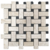 "Durango Basketweave with 5/8"" Black Dot Mosaic Tumbled (1 sf)"
