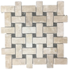 Durango Limestone Basketweave without Dot Mosaic Tumbled (1 sf)