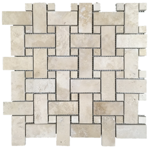 **LIMITED STOCK** Durango Basketweave with Same Dot Mosaic Honed & Filled - Elon Tile & Stone