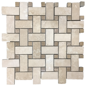 **LIMITED STOCK** Durango Basketweave with Noce Dot Mosaic Honed & Filled (1 sf) - Elon Tile