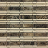 **DISCONTINUED** Dark Emperador Bamboo with Crema Marfil Mosaic Polished (1.04 sf)
