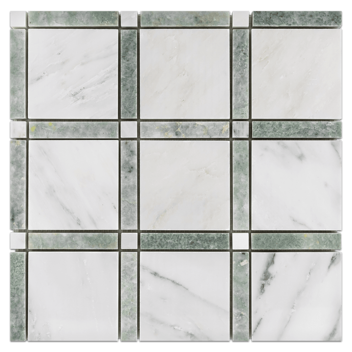 Pearl White with Ming Green Bar and Pearl White Dot Grande Square Mosaic Polished (1 sf) - Elon Tile