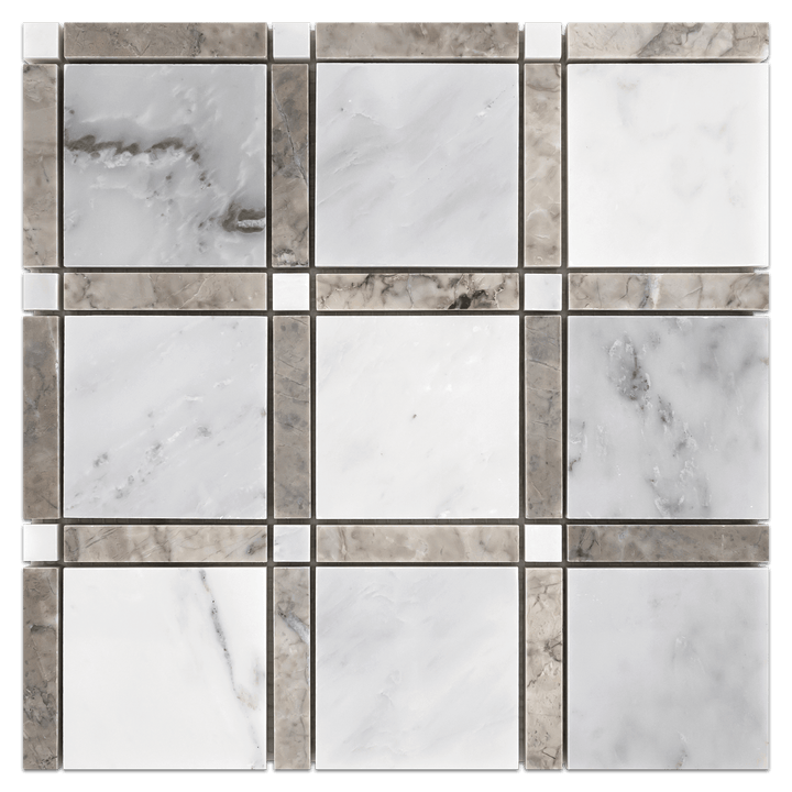 Pearl White with Temple Grey Bar and Pearl White Dot Grande Square Mosaic Polished - Elon Tile