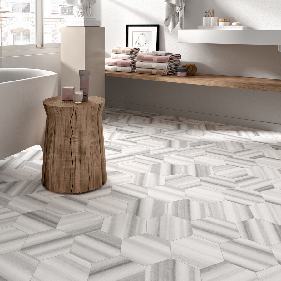 "Roma Grey 8"" Hexagon Porcelain - Elon Tile"