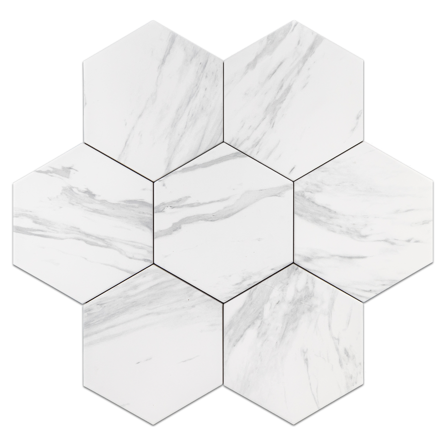 "Neo White 8"" Hexagon Porcelain"