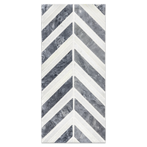 Mini Board Collection - MB112 - Pacific Gray with White Thassos Chevron Mosaic Polished Board