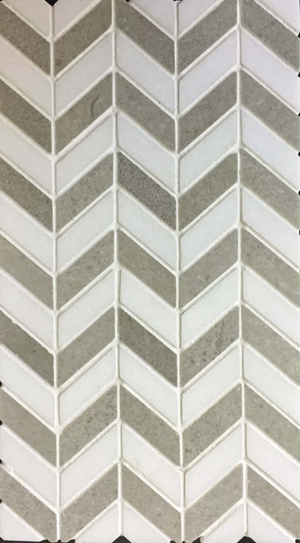 Mini Board Collection - MB116 - White Thassos/Sand Dollar Petite Chevron Polished Board - Elon Tile