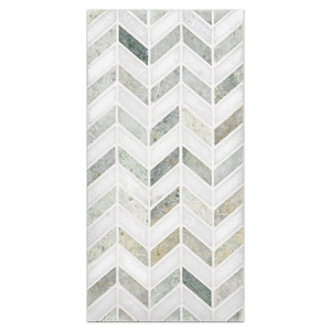 Mini Board Collection - MB117 - White Thassos with Ming Green Petite Chevron Polished Board