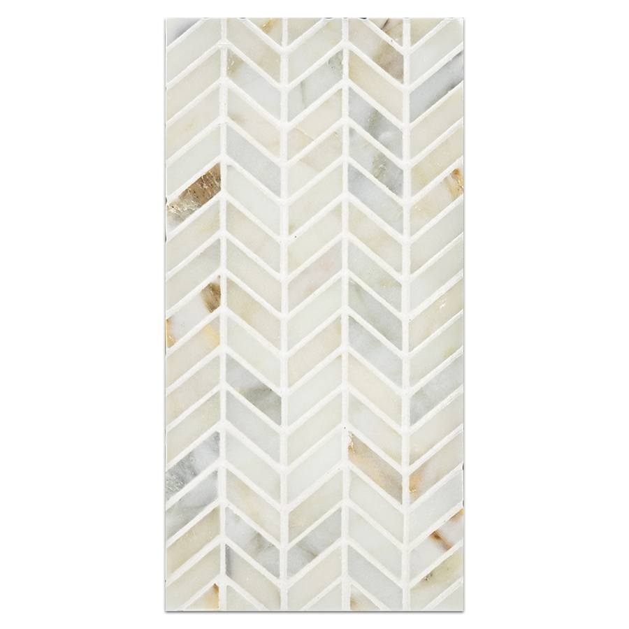 Mini Board Collection - MB118 - Calacatta Petite Chevron Mosaic Polished Board