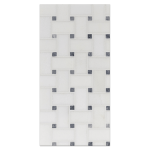 "Mini Board Collection - MB140 - White Thassos Basketweave with 3/8"" Pacific Gray Dot Polished Board - Elon Tile"