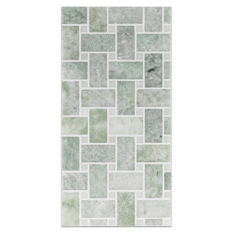 "Mini Board Collection - MB143 - Ming Green Basketweave with 3/8"" White Absolute Dot Honed - Elon Tile"