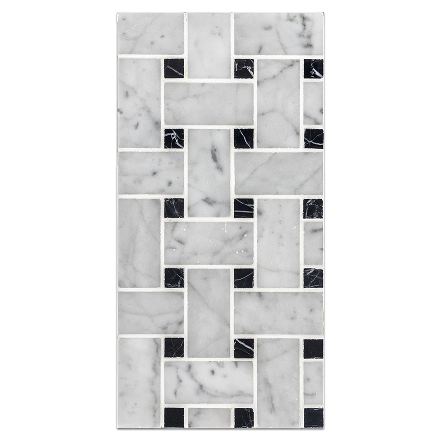 "Mini Board Collection - MB144 - Bianco Carrara Basketweave with 5/8"" Black Dot Mosaic Polished"