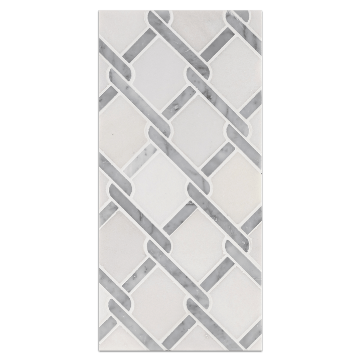Mini Board Collection - MB169 - White Absolute with Bianco Carrara Argyle Mosaic Polished Board - Elon Tile