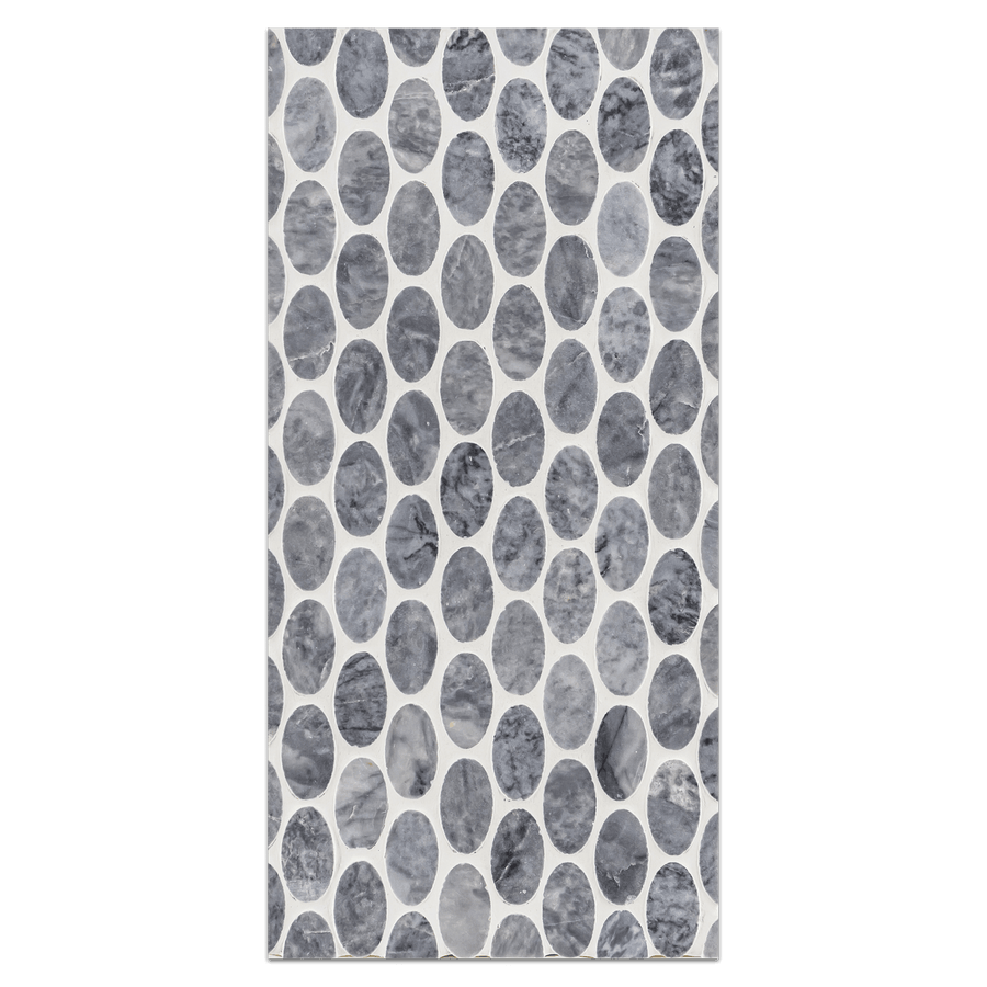 Mini Board Collection - MB184 - Pacific Gray Oval Mosaic Polished Board - Elon Tile